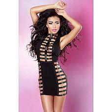 Платье со вставками-шлейками Royal dress  Пронзительно сексуальное платье из черной эластичной ткани с вставками из кожзама.