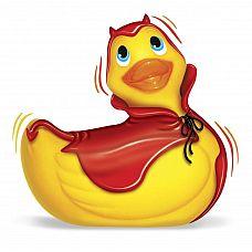 Вибратор утка-дьяволенок I Rub My Duckie Red Devil Travel Size  Красный плащ с пикойPи дьявольские рожки - эта уточка станет украшением любой ванной комнаты.