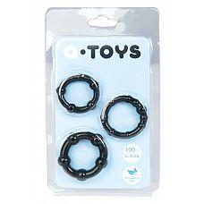 Набор из 3 чёрных эрекционных колец A-toys  Эрекционные силиконовые кольца A-Toys для усиления эрекции и продления полового акта.