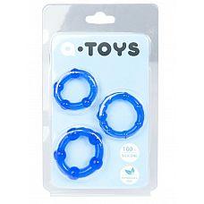 Набор из 3 синих эрекционных колец A-toys  Эрекционные силиконовые кольца A-Toys для усиления эрекции и продления полового акта.