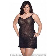 Платье в клеточку со стразами на местах пересечений   Прозрачное черное платье в клеточку с мерцающими стразами.