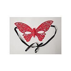 Маска бабочка красная 22.5 см, Красный  Красная кружевная маска Бабочка в венецианском стиле.