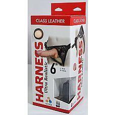 Насадка-фаллоимитатор на кожаных трусиках Harness Ultra Realistic 6  - 18,5 см.  Комплект из трусиков с насадкой.