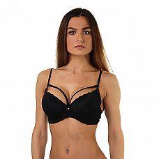 Черный бюстгальтер-оверлэй с push-up  Бюстгалтер со вставками пуш-ап и дополнительными лентами на груди для зрительного увеличения бюста.