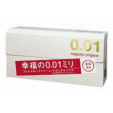 Супер тонкие презервативы Sagami Original 0.01 - 5 шт.  Супер тонкие презервативы с силиконовой смазкой.