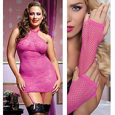Smart Set  38: эффектное платье с пажами, трусики-стринги и перчатки из сетки  Smart Set  38: эффектное платье с пажами, трусики-стринги и перчатки из сетки.