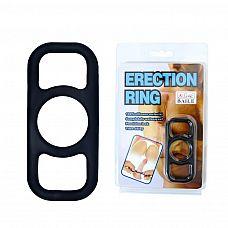 Чёрное эрекционное кольцо на пенис с петлями по бокам   Чёрное эрекционное кольцо на пенис с петлями по бокам для удобства надевания.