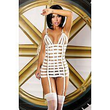 Платье-портупея Mystery dress  Оригинальное и сексуальное платье из белых ремешков, украшенных блестящими золотистыми кольцами.
