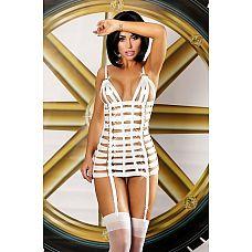 Платье-портупея Mystery dress - Lolitta, L/XL, Белый  Оригинальное и сексуальное платье из белых ремешков, украшенных блестящими золотистыми кольцами.