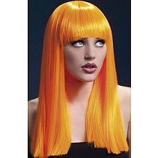 Ярко-оранжевый парик Alexia  С этим неоново-оранжевым париком вы легко можете как стать игривой девушкой-подростком, так и завершить любой озорной образ.