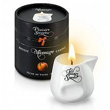 Массажная свеча с ароматом персика Bougie Massage Gourmande Pљche - 80 мл.  Зажгите свечу, и она превратится в ароматное масло для массажа.