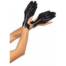 Перчатки с замочками WET LOOK ZIPPER GLOVES  Перчатки с вырезом и на замочке от Leg Avenue. Выполнены из материала с wet-эффектом.