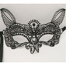 """Маска """"Дивная кошка"""", Черный  Кружевная маска в венецианском стиле с многочисленными ажурными узорами и кошачьими ушками."""
