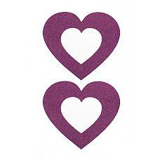 Пестисы Сердечко Shotsmedia, 7 см, One Size, Фиолетовый  Подчеркнуть вашу сексуальность и роскошь груди помогут привлекательные наклейки – пестисы «Сердечко».