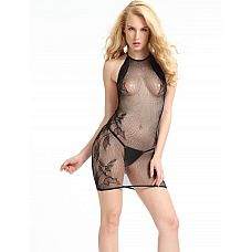 Прозрачное мини-платье с цветочным узором сбоку  Ажурное, почти полностью прозрачное эротическое мини-платье.