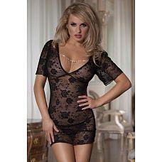 Романтическое мини-платье с украшением на груди  Одновременно чувственное и сексуальное платьице.
