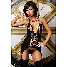 Эластичный корсаж Strong set в комплекте с трусиками-стринг  Невероятно сексуальный комплект из эластичной черной ткани под кожу.
