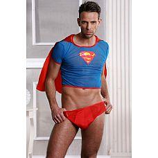 Мужской эротический костюм Супермена  Супермен спешит на помощь! Детка, ты не устоишь! Классный и прикольный мужской комплект для ролевой игры: укороченный топ с Pкрасным  плащом  и эмблемой Супермена, плюс трусы-боксеры.