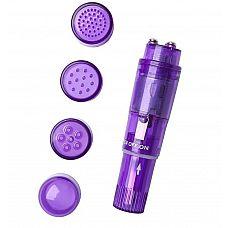 Фиолетовая виброракета Erotist с 4 насадками   Мини вибратор   это девайс для получения ярких оргазмов.