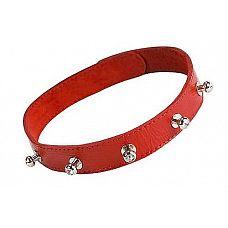 Красный кожаный ошейник с фурнитурой со стразами  Изготовлен из натуральной кожи с велюровой подкладой.