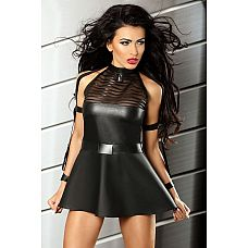 Маленькое черное платье Sensuality   Дерзкое мини-платье из эластичной черной ткани с мокрым блеском.