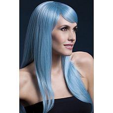 Голубой парик с чёлкой на бок  Голубой парик с чёлкой на бок.