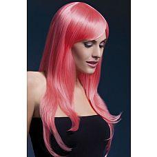 Коралловый парик с чёлкой на бок  Коралловый парик с чёлкой на бок.