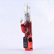 Красный вибратор с 24 режимами вибрации и ротации - 21 см.  Красный вибратор призван дарить наслаждение сладкими ритмами вибраций, стимулирующими вагину.