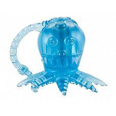Голубой вибростимулятор в виде осьминога  Рельефный вибратор в виде осьминога.