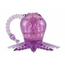 Фиолетовый вибростимулятор в виде осьминога  Рельефный вибратор в виде осьминога.
