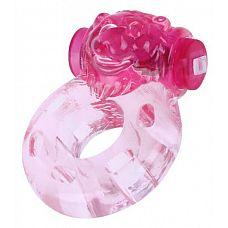 Розовое эрекционное виброкольцо  Медвежонок   Эрекционное кольцо с вибрацией в виде морды медведя.