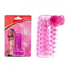 Розовая сквозная вибронасадка на пенис с шипами  Розовая вибронасадка с открытой головкой.