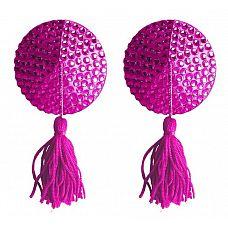 Розовые круглые пестисы Nipple Tassels Round  Эти прекрасные наклейки на соски Nipple Tassels от Ouch! являются идеальным украшением, чтобы приятно удивить и соблазнить.
