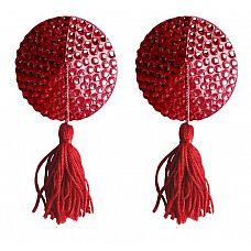 Красные круглые пестисы Nipple Tassels Round  Эти прекрасные наклейки на соски Nipple Tassels от Ouch! являются идеальным украшением, чтобы приятно удивить и соблазнить.