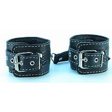 Чёрные кожаные оковы с крупной строчкой  Чёрные кожаные оковы с крупной строчкой.