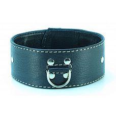 Черный кожаный ошейник с петлёй для поводка  Черный кожаный ошейник с петлёй для поводка.