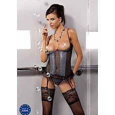Корсаж с открытой грудью Nell от Casmir   Представляем вам изумительный корсаж с открытой грудью!    Ваш любимый человек не сможет отвести от вас взгляд! Нежные кружева подчеркнут ваши формы и достоинства, а серые трусики с ремешками для чулок дополнят сексуальный образ!    Желательна ручная стирка.