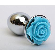 Серебристая анальная пробка с голубой розочкой - 7,6 см.  Металлическая анальная пробка с ограничительным основанием для безопасного использования.