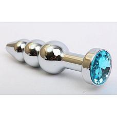 Серебристая анальная ёлочка с голубым кристаллом - 11,2 см.  Металлическая анальная пробка с ограничительным основанием для безопасного использования и кристаллом.