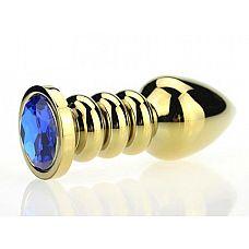 Золотистая фигурная анальная пробка с синим стразом - 10,3 см.  Металлическая анальная пробка с ограничительным основанием для безопасного использования и кристаллом.
