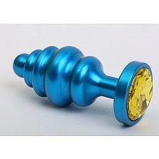 Синяя ребристая анальная пробка с жёлтым кристаллом - 7,3 см.  Металлическая анальная пробка с ограничительным основанием для безопасного использования и кристаллом.