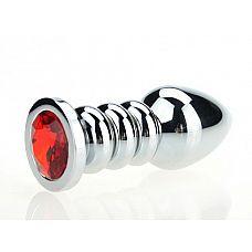 Пробка металл фигурная серебро с красным стразом 10,3х3,8см 47423-2MM