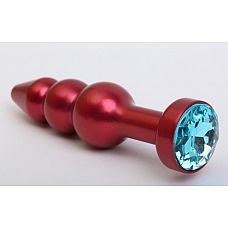 Красная анальная ёлочка с голубым кристаллом - 11,2 см.  Металлическая анальная ёлочка с ограничительным основанием, украшенным кристаллом.