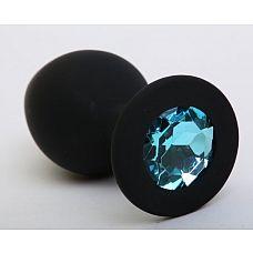 Чёрная силиконовая пробка с голубым стразом - 8,2 см.  Силиконовая пробка с ограничительным основанием для безопасного использования.