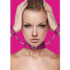 Ошейник с наручниками OUCH!  Розовый  Представляем вам новую коллекцию игрушек Ouch!, которая взорвала рынок БДСМ игрушек!    Великолепный бдсм-набор из ошейника и наручников, изготовленных из материалов, не вызывающих аллергию или раздражение.
