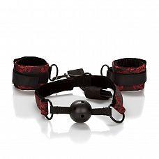 Кляп и наручники Scandal, Красный   Стильный набор для фиксации, состоящий из широких наручников и плотного кляпа с отверстиями.