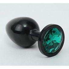 Чёрная анальная пробка с зеленым стразом - 8,2 см.  Металлическая анальная пробка с ограничительным основанием для безопасного использования.