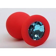 Красная силиконовая пробка с голубым стразом - 8,2 см.  Силиконовая пробка с ограничительным основанием для безопасного использования.