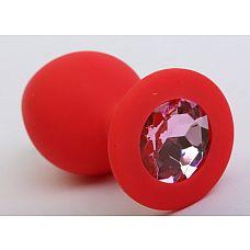 Красная силиконовая пробка с розовым стразом - 8,2 см.  Силиконовая анальная пробка с ограничительным основанием для безопасного использования.