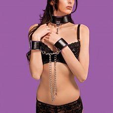 Чёрно-фиолетовый двусторонний ошейник с наручниками Reversible Collar and Wrist Cuffs  Этот ошейник и наручники имеют полиуретановую и неопреновую стороны, и это позволяет вам выбирать касающийся вашей кожи материал простым выворачиванием ошейника или наручников на другую сторону.